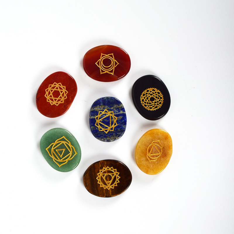 wholesale 7 Chakra Engraved Gemstone Set Polished Palm Pocket Stone Reiki Balancing Healing Crystal 7 Chakra Stones Sets