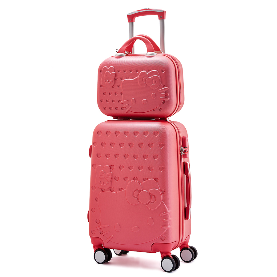 Women Suitcase set ABS Cartoon Travel Box Rolling Trolley Hard case bag Hello Kitty Luggage bag