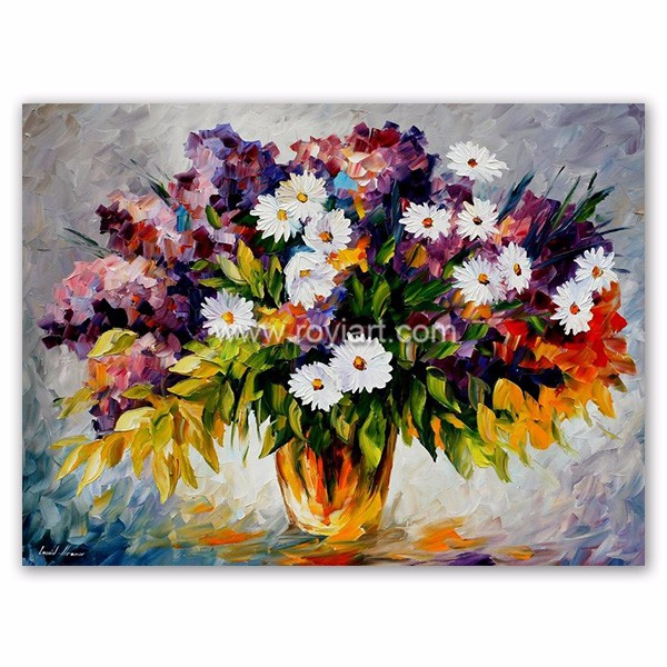 Handmade Daisies Flower Oil Painting on Canvas