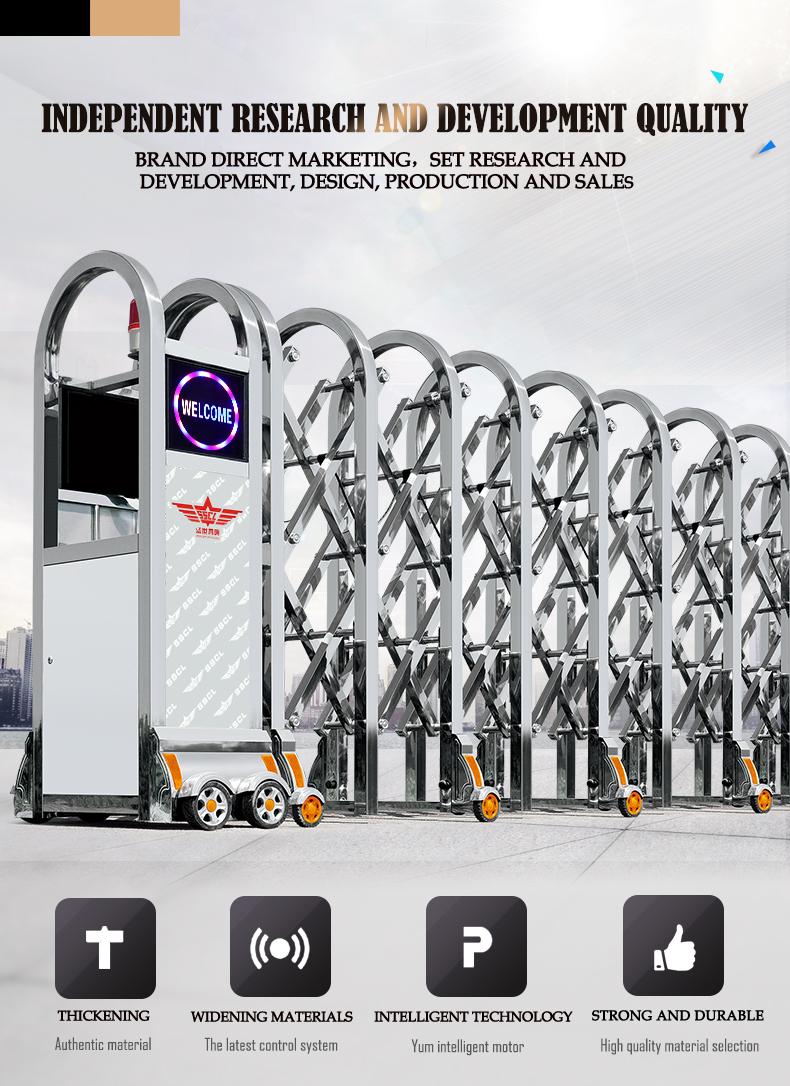 Portão automático retrátil dobrável de aço inoxidável porta corrediça ao ar livre