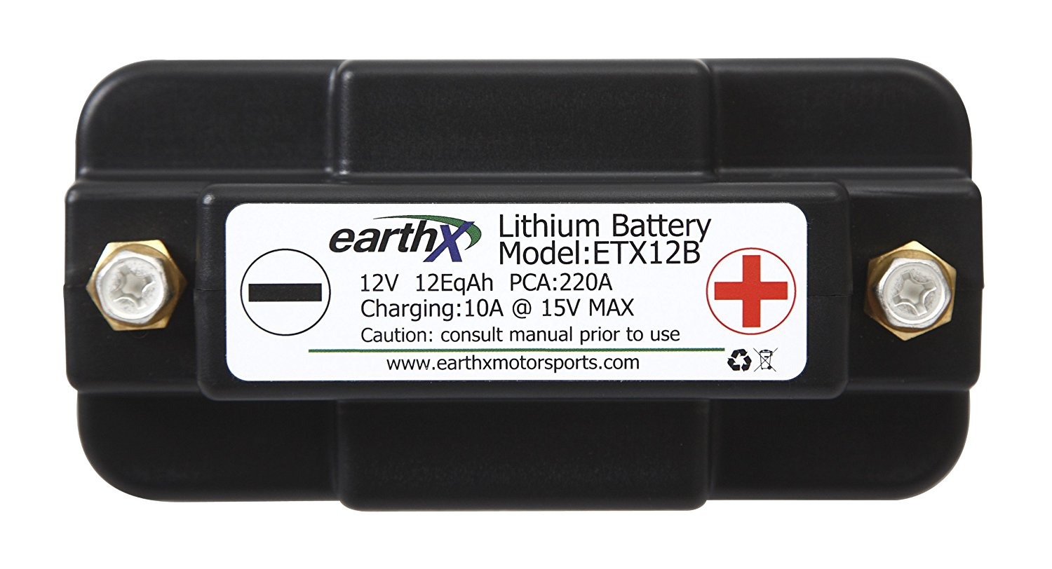EarthX ETX12B Power Sports Lithium Battery with built in cell charge balancing, over charge and over discharge protection. Replaces YTX7A-BS, YT7B-BS, YB9-BS, YTX9-BS, YT9B-BS, YB12AL-A2, YB10L-B2