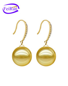 10-11mm AAA 18K gold Australia perfect round south sea pearl earring