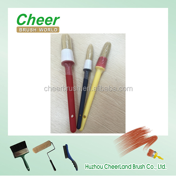 economy chalk & wax paint brush and round hair brush with long plastic handle