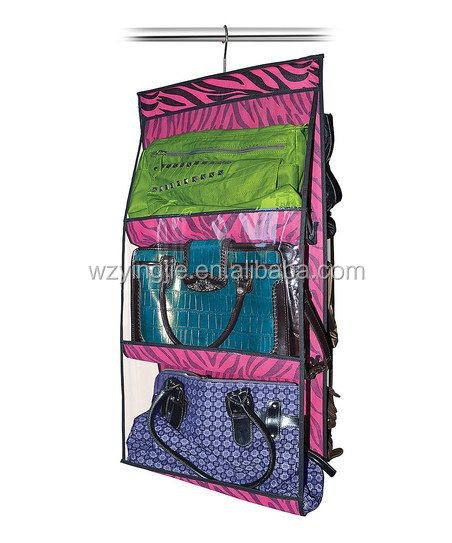 6 Compartment Closet Organizer Hanging Purse Handbag Organizer