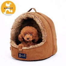 Hoopet brown fake fur cozy cave dog beds
