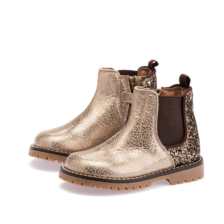 Your own brand metallic pu and glitter with elastic design kid boots