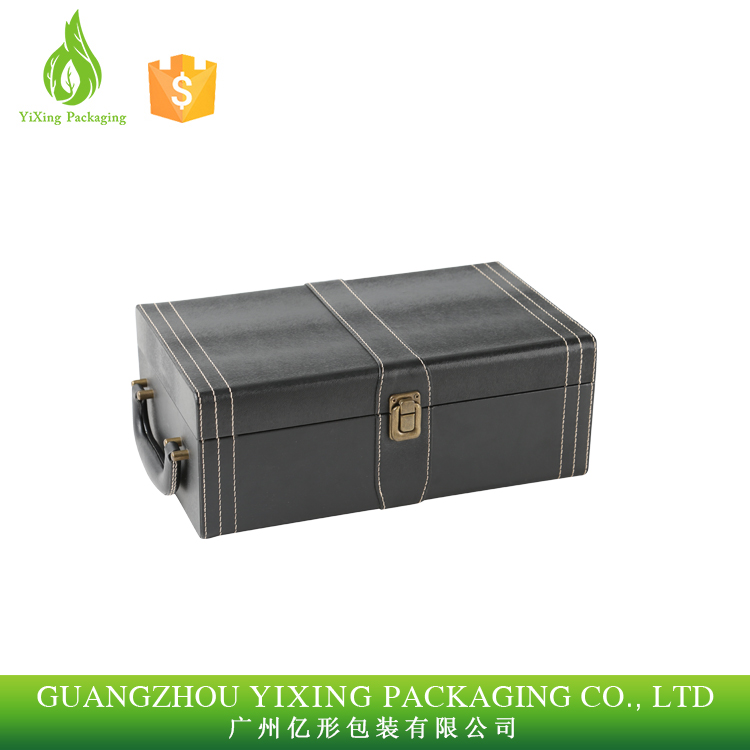 Super Luxury Leather wine box with handle 2 bottle PU wine boxes