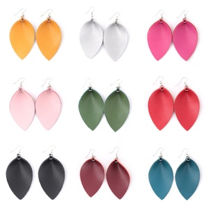 Boutique accessory overstock handmade genuine leather teardrop earring