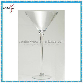 Long Stemmed Unique Tall Clear Martini Glass Vases Centerpieces