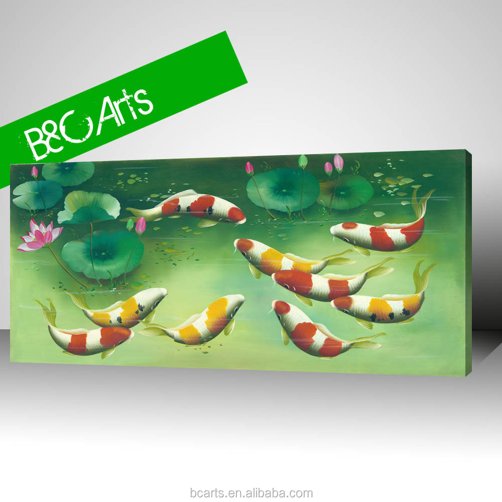 The lotus pond with carps famous animal painting of fish print on canvas