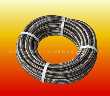 6 AN Nylon Stainless Steel Braided Fuel Oil Line Hose AN6 Silver