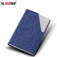 Professional manufacture business name card holder luxury PU leather stainless steel multi card case for gift