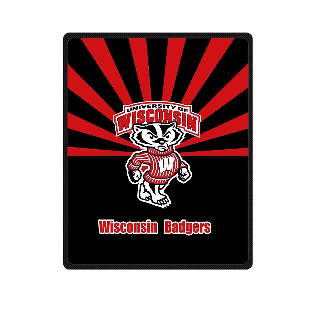 """Custom NCAA Wisconsin Badgers Bed/Sofa Soft Throw Fleece Blanket 40""""x50"""""""