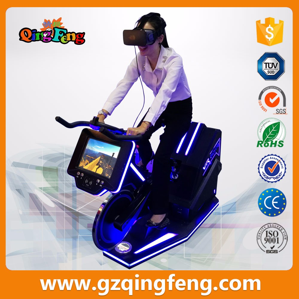 Qingfeng 2017 hot sale indoor coin operated  Bike Simulator Sporting Glasses VR bike