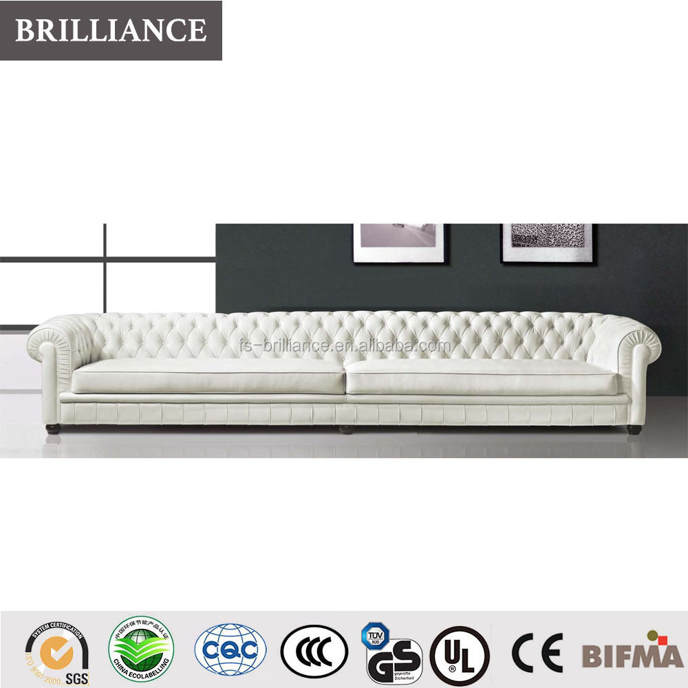 - White Color Modern Extra Long Leather Sofa For Home Furniture