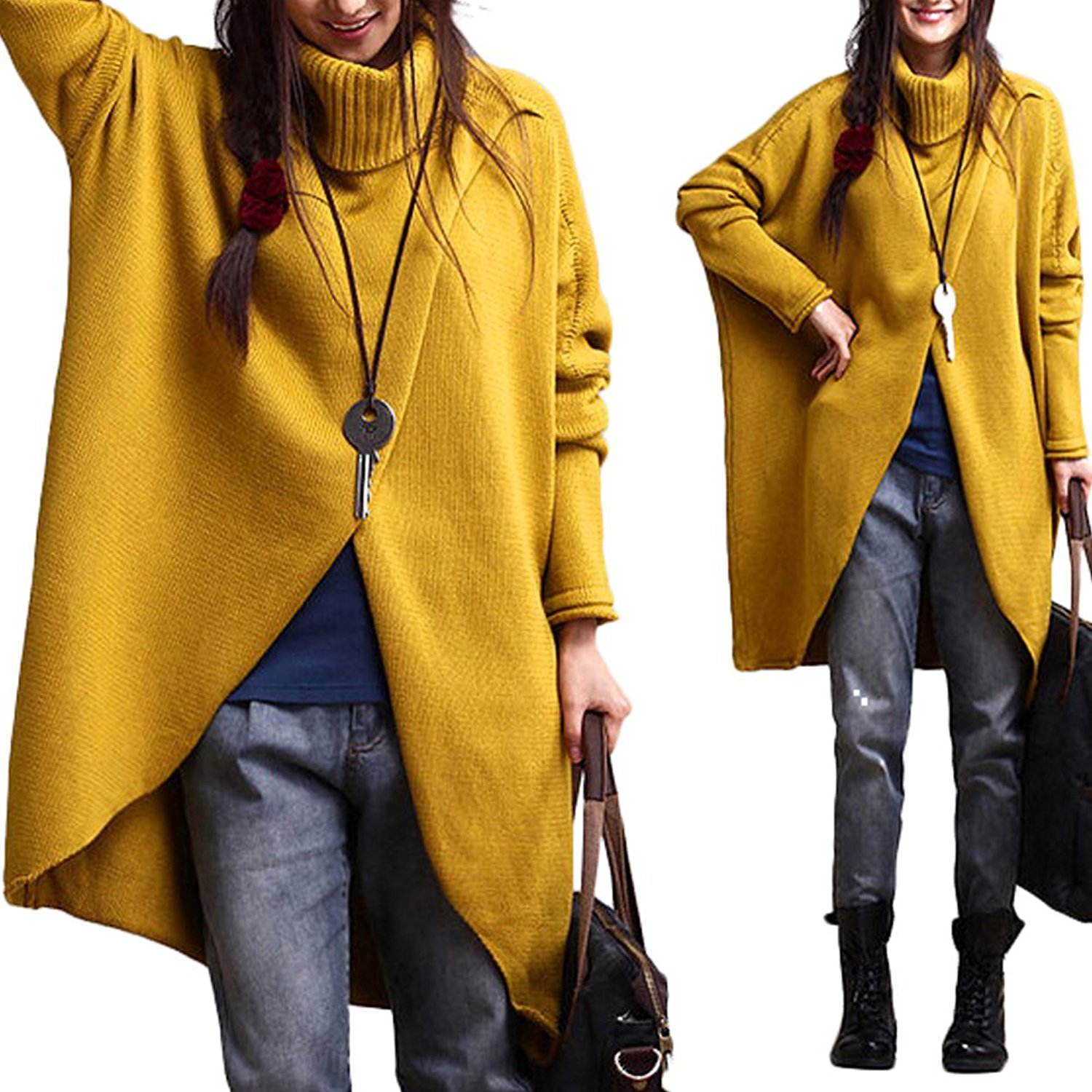 11e6bd3c8a0 Get Quotations · Bodycon4U Women s Plus Size Asymmetric Hem Loose Fit  Chunky Cable Knit Pullover Sweaters