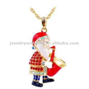 Wholesale Christamas gift colorful crystal 18k gold plated Santa Claus with saxophone  necklace jewelry C253 2ebe25440f80