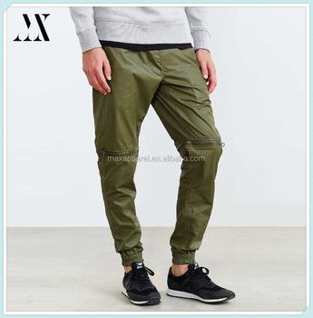 custom new fashion design pants zip off at the knees man jogger