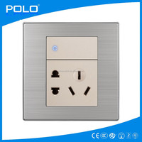 2015 color champagne light wall switch made in china 1 gang 1 way switch and 5 hole socket