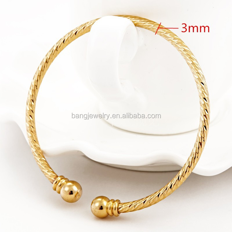 24k India Algeria Goldplated Bracelets Bangles For Women With Balls