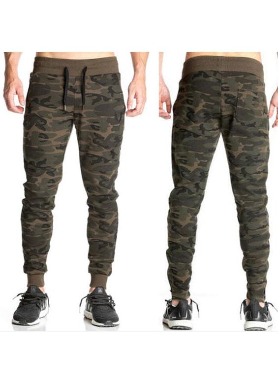 Los hombres gimnasio pantalones camuflaje Casual Jogger ajustados holgados  pantalones de chándal 808e07a27ac