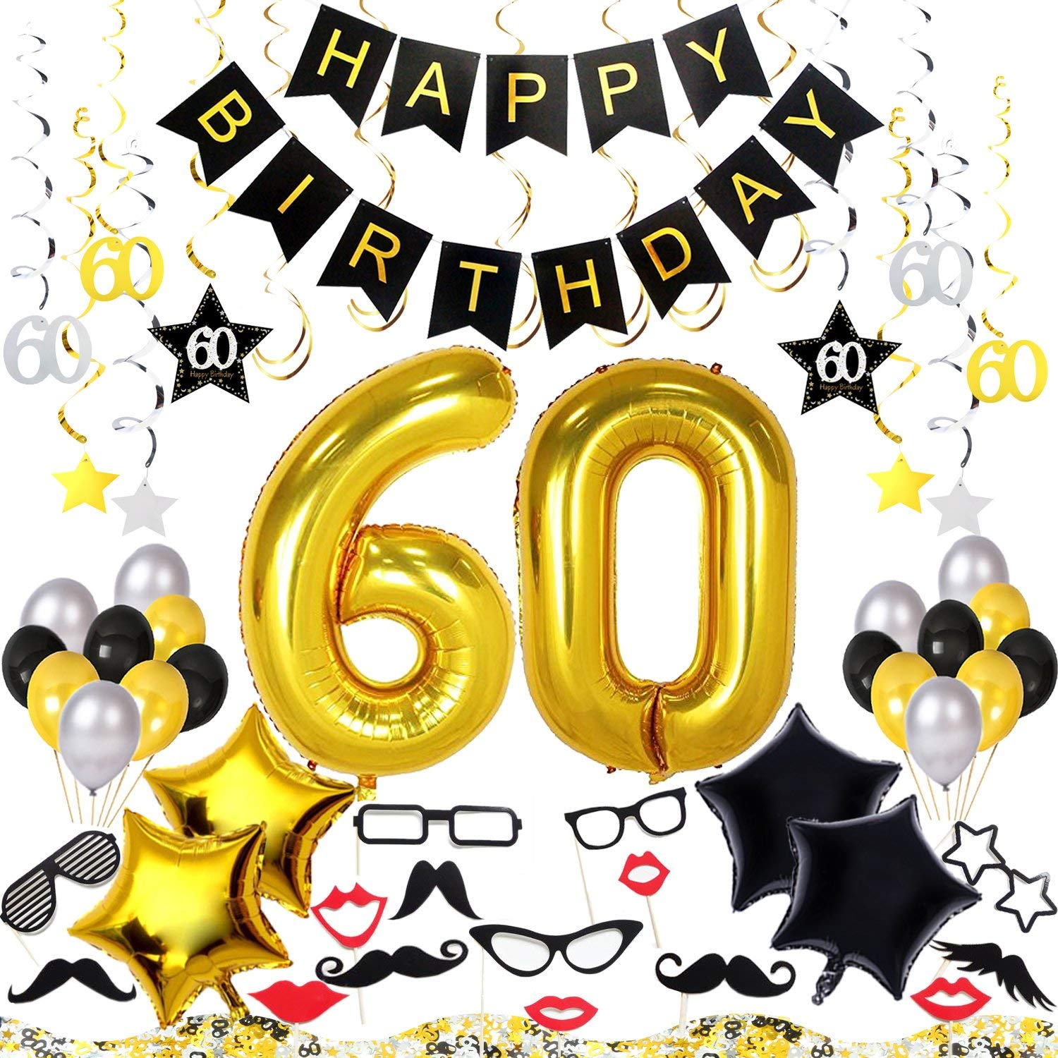 Get Quotations 60th Birthday Decorations Kit 70 Pieces Happy Banner 40 Inch 60 Gold