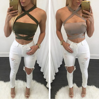 F20274A Ladies latest fashion women sexy crop tops stylish backless bandage top for women 2016