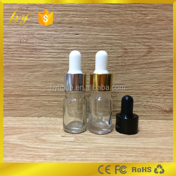 the smallest glass bottle 5ml clear glass vial for testing and try out with gold & silver aluminium cap from china supplier