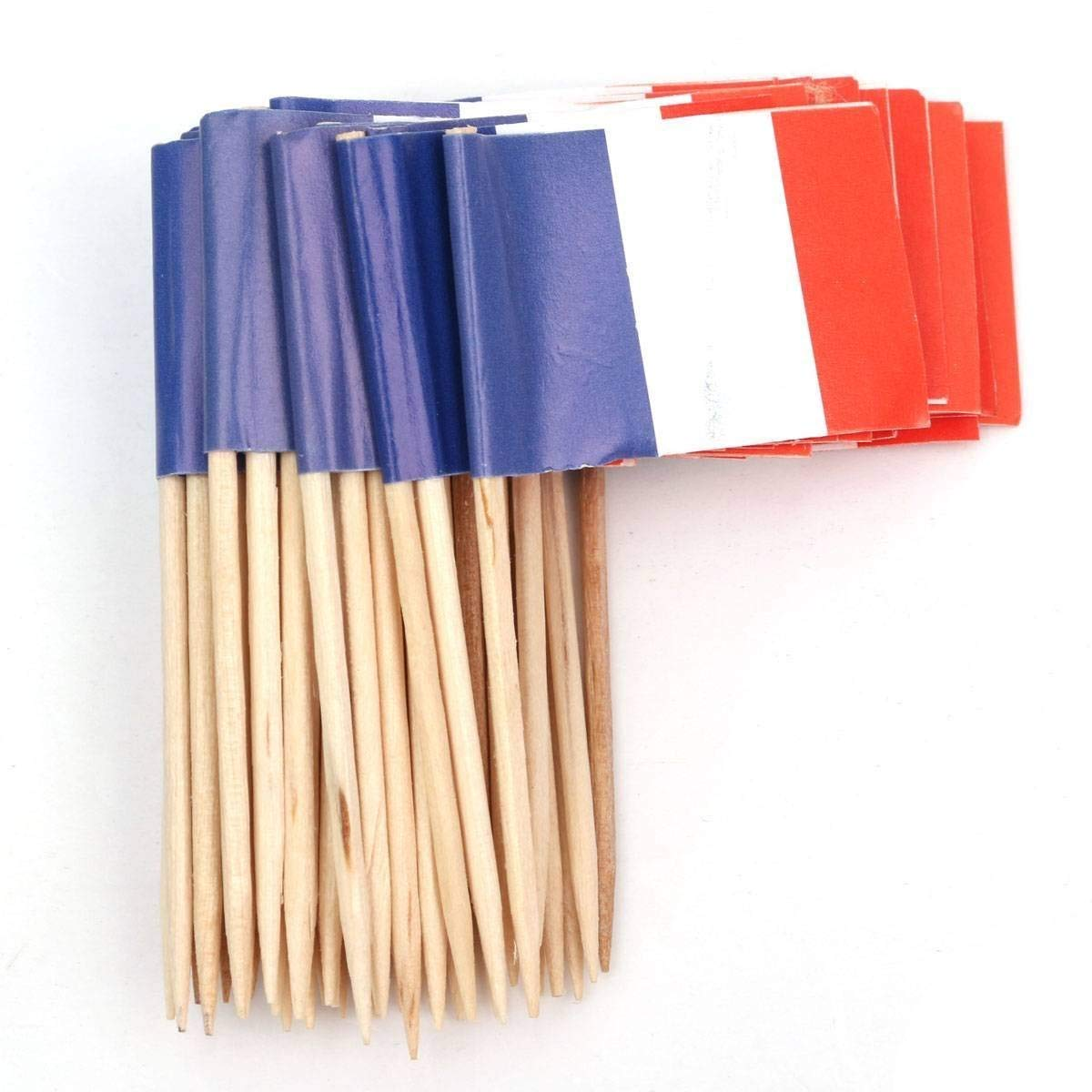 Funnytoday365 Lot Of 50Pcs Mini Wooden Toothpick With Flag For Decor Of Party Fruit Pastry - France (Blue White Red)