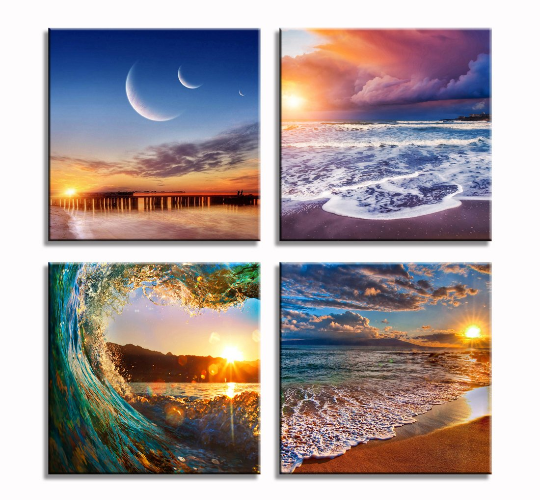 4 Panel Seascape And Beach Ocean Picture Prints On Canvas Wall Art Ready To Hang