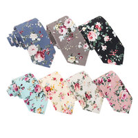 Wholesale mens cotton printed floral skinny neck ties with own logo