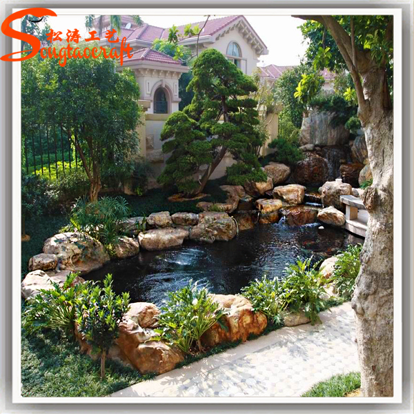Guangzhou artificial modern fiberglass rock waterfall for Artificial water pond
