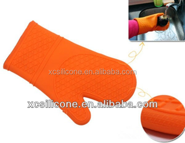 Personlized insulated silicone finger tips yellow kitchen gloves