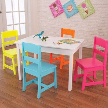 Children Furniture Sets Five Pieces Kids Homework Table With Four Chairs