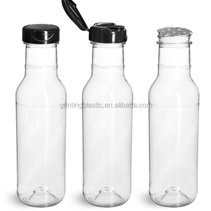 Plastic Bottles, Clear PET Barbecue Sauce Bottle with Black Polypro Induction Lined Snap Top Cap(12)
