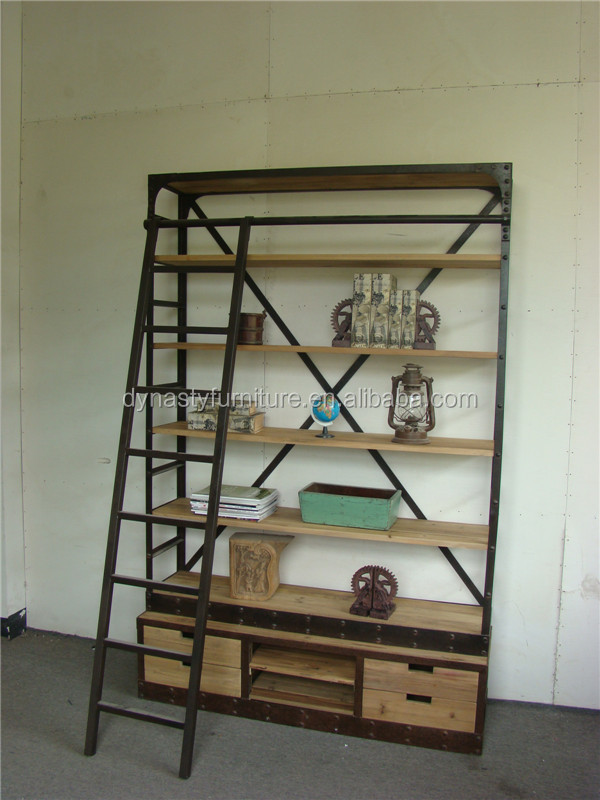 vintage french wood ladder shelf