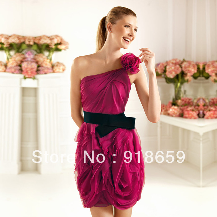 Discount Free Shipping Cwds078 One Shoulder With: Popular Hot Pink And Black Cocktail Dresses-Buy Cheap Hot