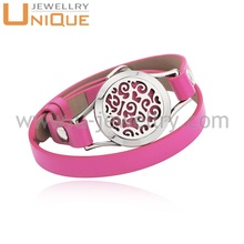 wholesale Red Leather Diffuser Bracelet Stainless Steel Bangle for women