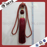 tieback for curtain,100% polyester/rayon maerial curtain pompon tieback