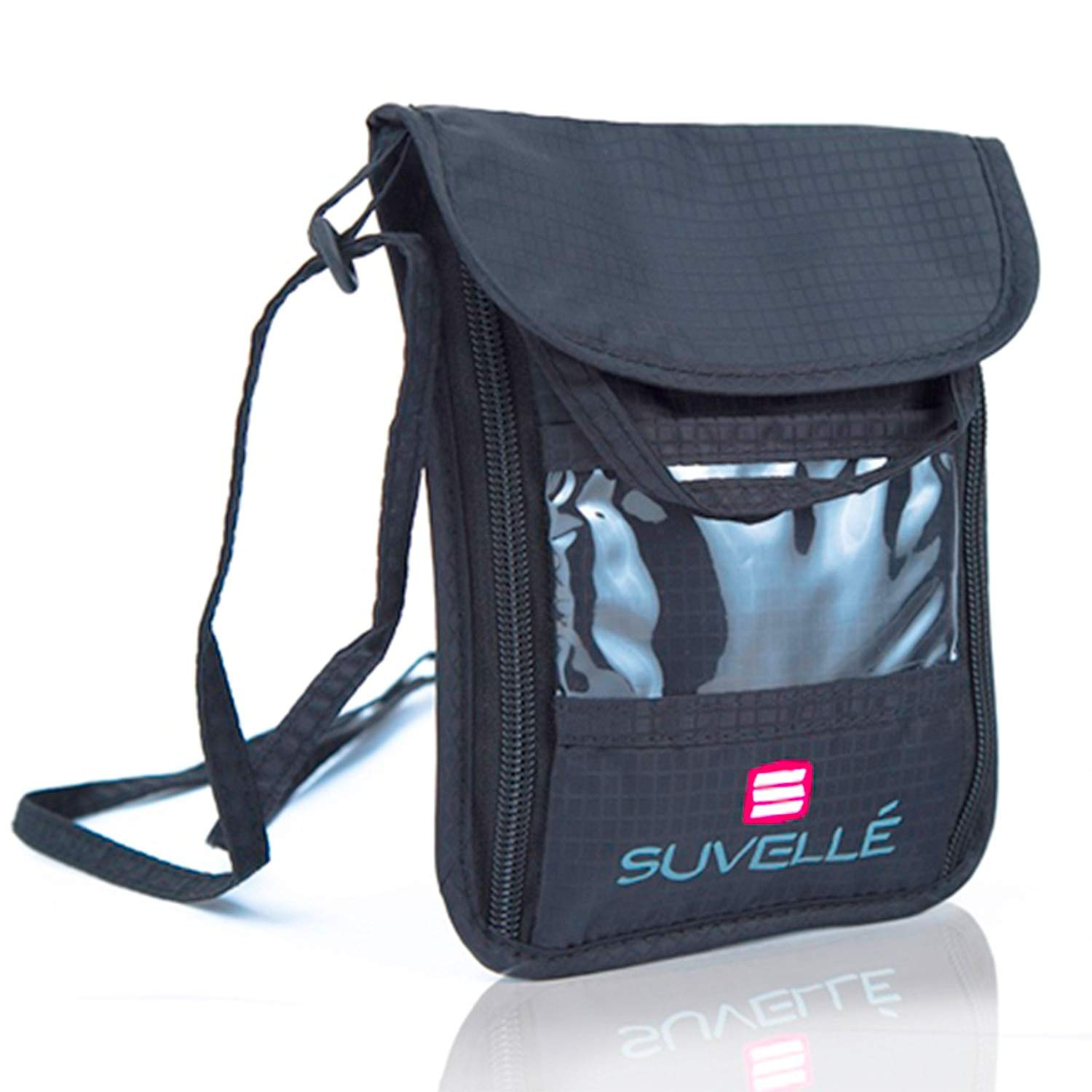 Suvelle RFID Blocking Travel Neck Pouch Organizer Wallet Passport Holder