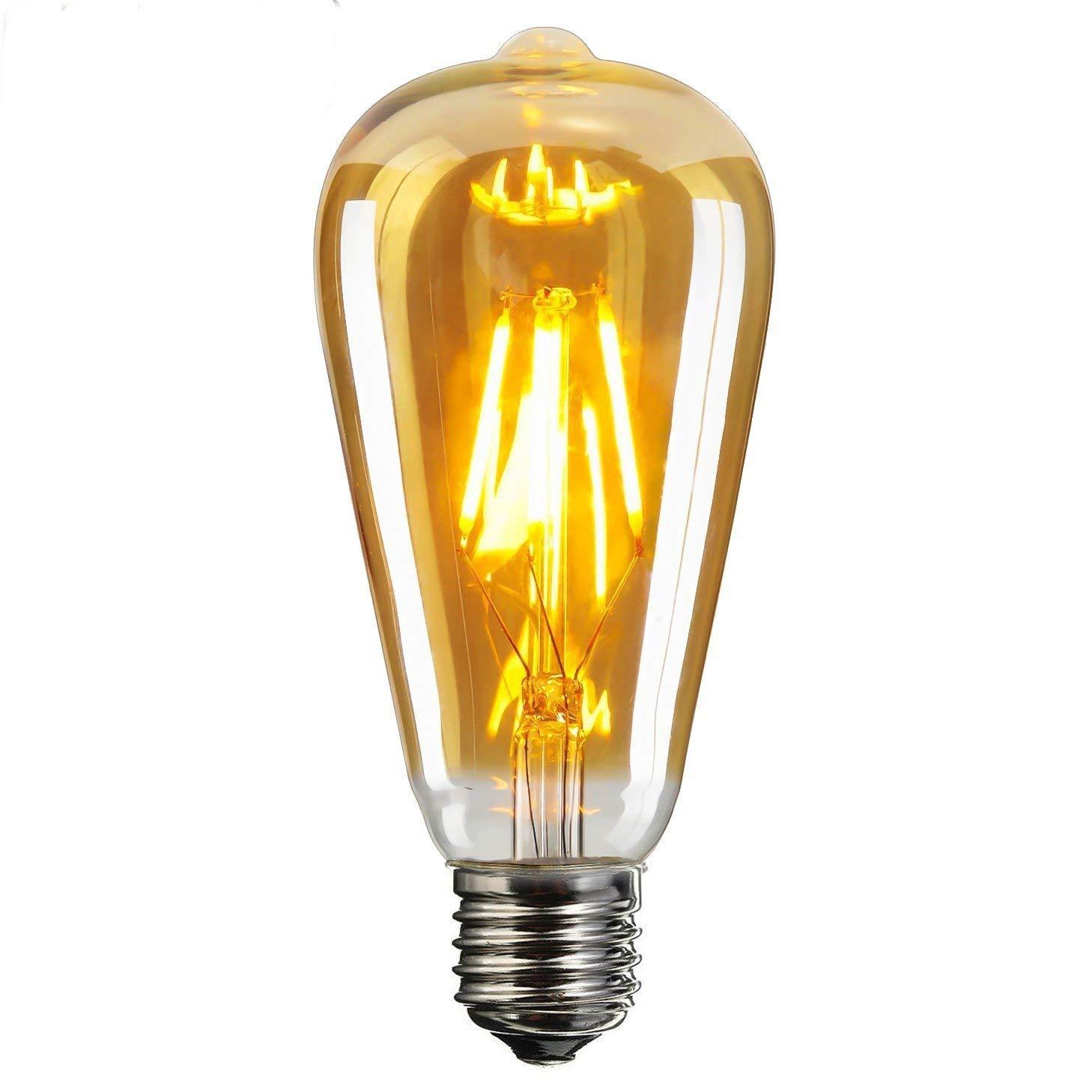 1- Pack,E26 LED Edison Light Bulbs, 6W Equivalent 60W, Amber Glass LED Light Bulbs, ST64 Vintage Edison Light Bulb LED Lighting, 600 Lumen Warm White 2700K,Dimmable