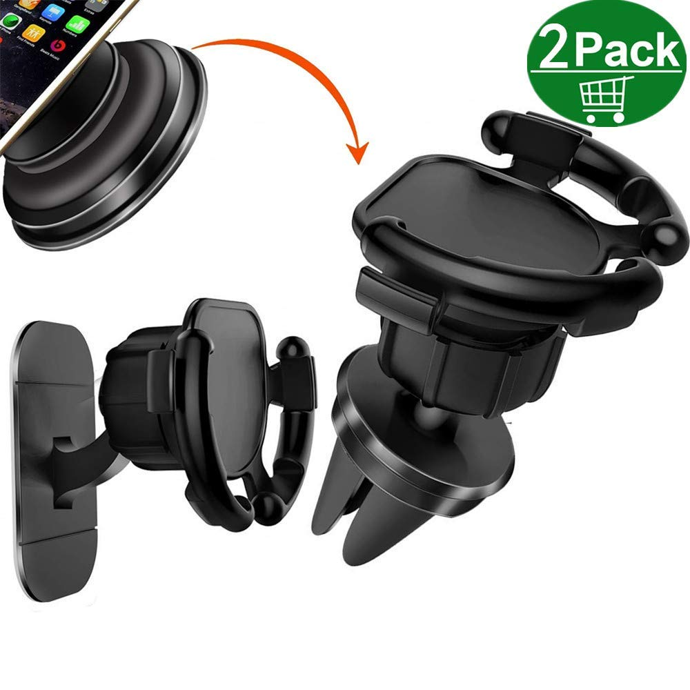 (Updated Version2- Pack) Car Mount Compatible Pop Socket, VINSO TECH Air Vent, 360 Degree Rotation, Perfect Compatible Most Smartphone