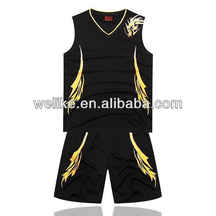 New Basketball Jersey Design Black Team Basketball Uniform Cheap