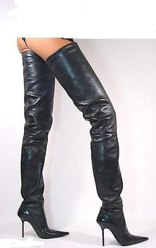 838dfc91f76991 Black Leather Tigh High Boots - Buy Leather Thigh High Boots ...
