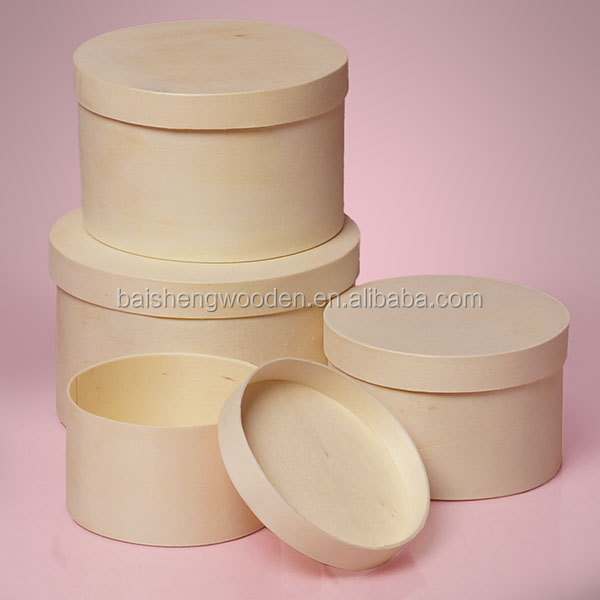 wholesale cheap poplar wood round box veneer wood cheese cake boxes