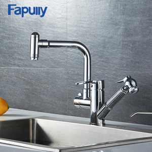Fapully brass doudle handle kitchen faucet parts pull out kitchen sink faucet