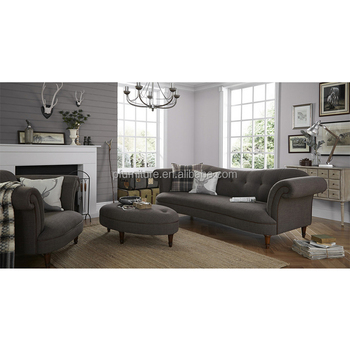Grey Fabric Half Moon Sectional Sofa Modern Hotel Couch