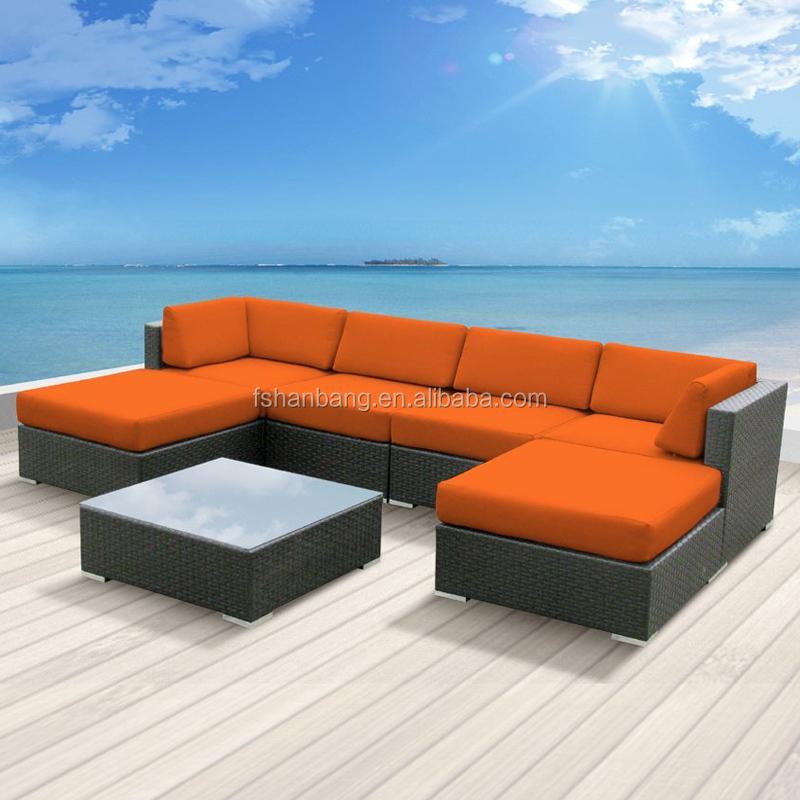 Modern Rattan Outdoor Patio Wicker Sectional Sofa Couch Set Outdoor Rattan  Sofa Set