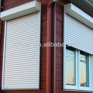Residential aluminum hurricane roll up storm shutters buy exterior roll up shutters automatic for Roll up window shutters exterior