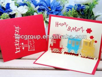 3D Birthday Cards Happy Train Children Gift Blue Red Greeting Card